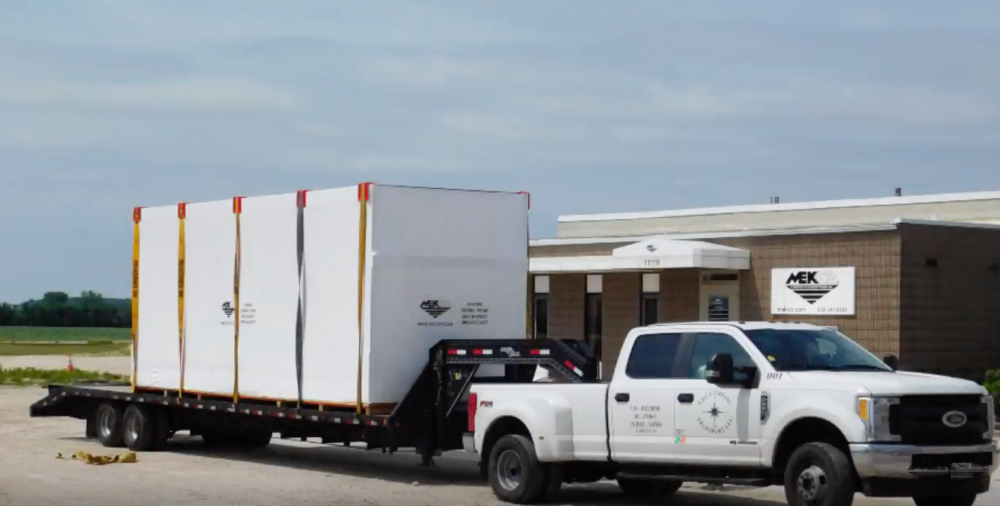 Final building product will be shrink wrapped and placed on a flatbed.