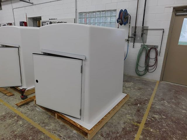 "48R7-1X with optional heater and interior light  48"" Cube 1"" - R7 Insulation 36"" x 36"" Door No vents  #mekco #mekcofiberglass #mekcocustom #mekcofrp #fiberglass #wastewater #watertreatment #wastewatertreatment #frpstructures #frpenclosure #frpbuilding"