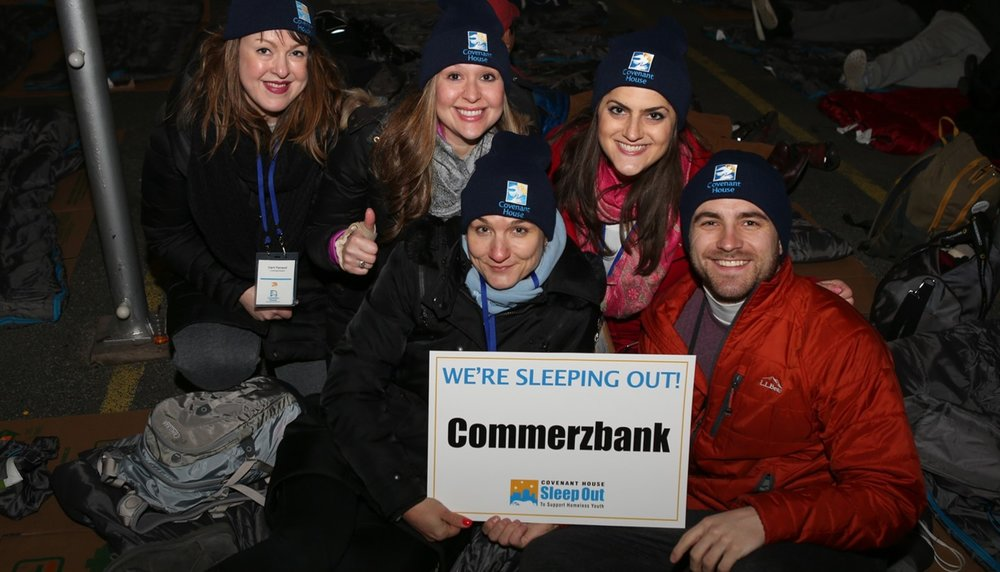 "Me ""sleeping-out"" with co-workers to raise money for homeless youth"