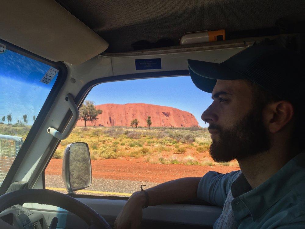 Uluru at a distance.