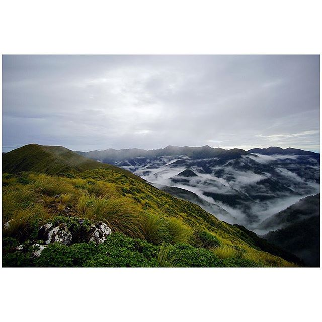 Somewhere near the 1,600 kilometer mark — The Tararuas — our first mountain range as south-bounders. When there's nine of you squeezed into a small six person hut, you're up before the clouds...or is this fog or maybe mist? A few of my fellow trampers are still probably arguing about it.