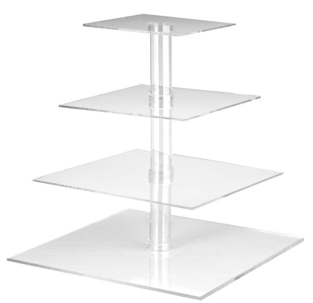 Utenlid 4-Tier Square Stacked Party Cupcake and Dessert Tower - Clear Acrylic Cake Stand.jpg