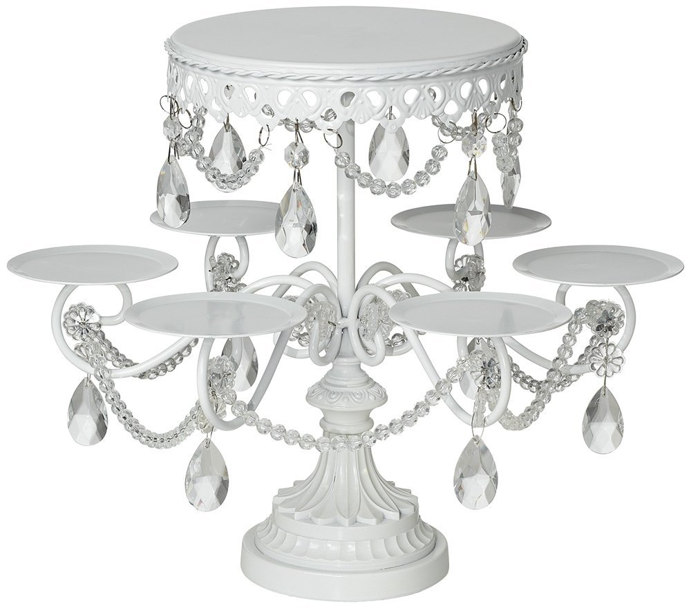 "Elise White and Crystal 12"" High Cake and Cupcake Stand.jpg"