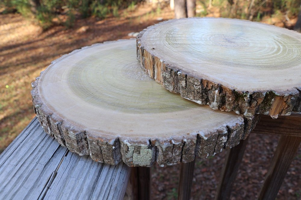 Natural Wood Slices, Round Basswood Slabs, 9 to 11 inches, Rustic Tree Bark Slice, Weathered Log Disc, Outdoor Country Barn Wedding Table Centerpiece, (4 Pack).jpg