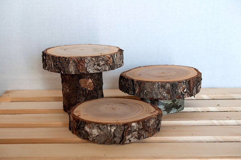 wood Slices, 3 tier rustic wood centerpiece, Large Wood Slice, Wood Slab, Rustic Wedding Decor.jpg