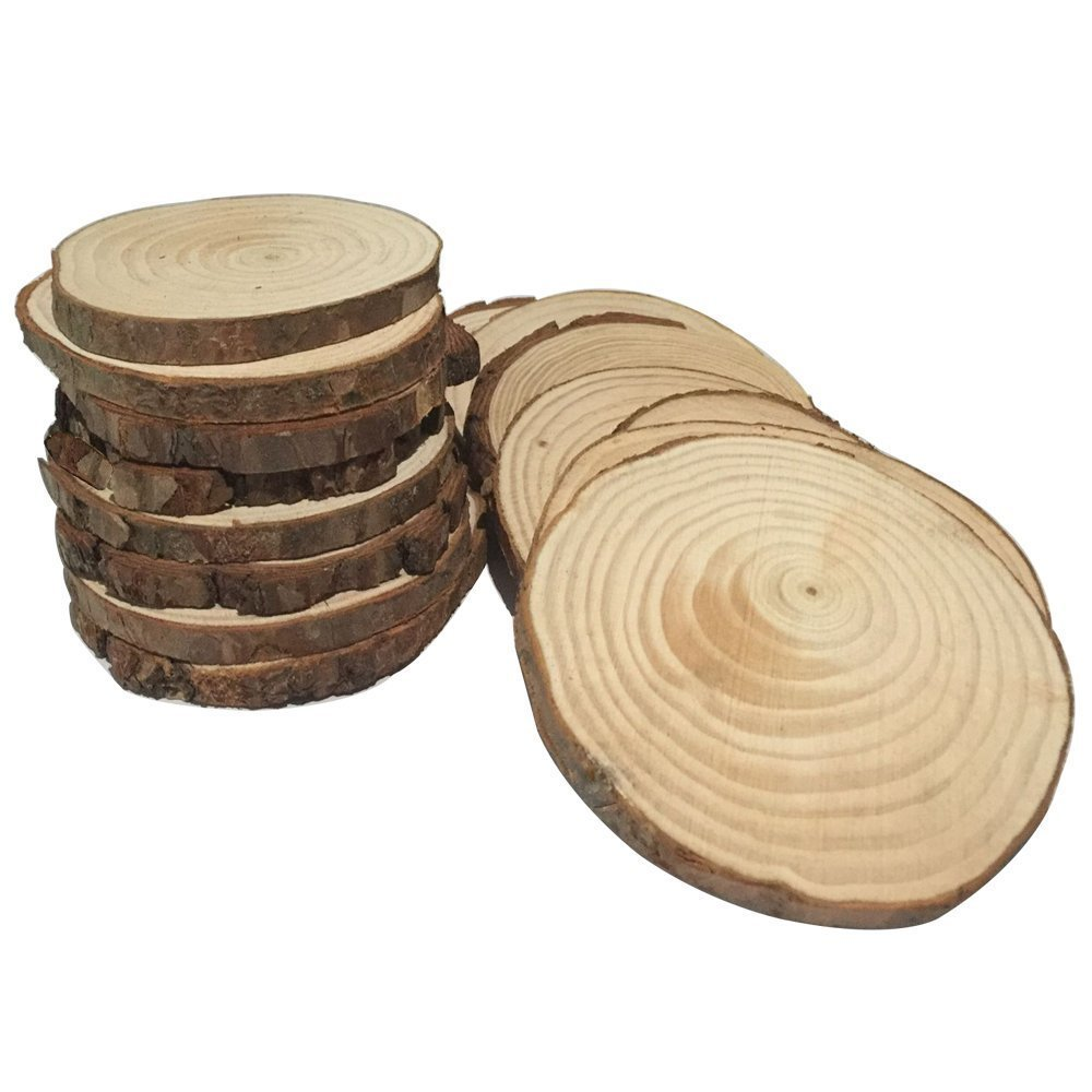 Fuhaieec 15pcs 3.5-4 Unfinished Natural Wood Slices Circles with Tree Bark Log Discs for DIY Craft Rustic Wedding Ornaments.jpg