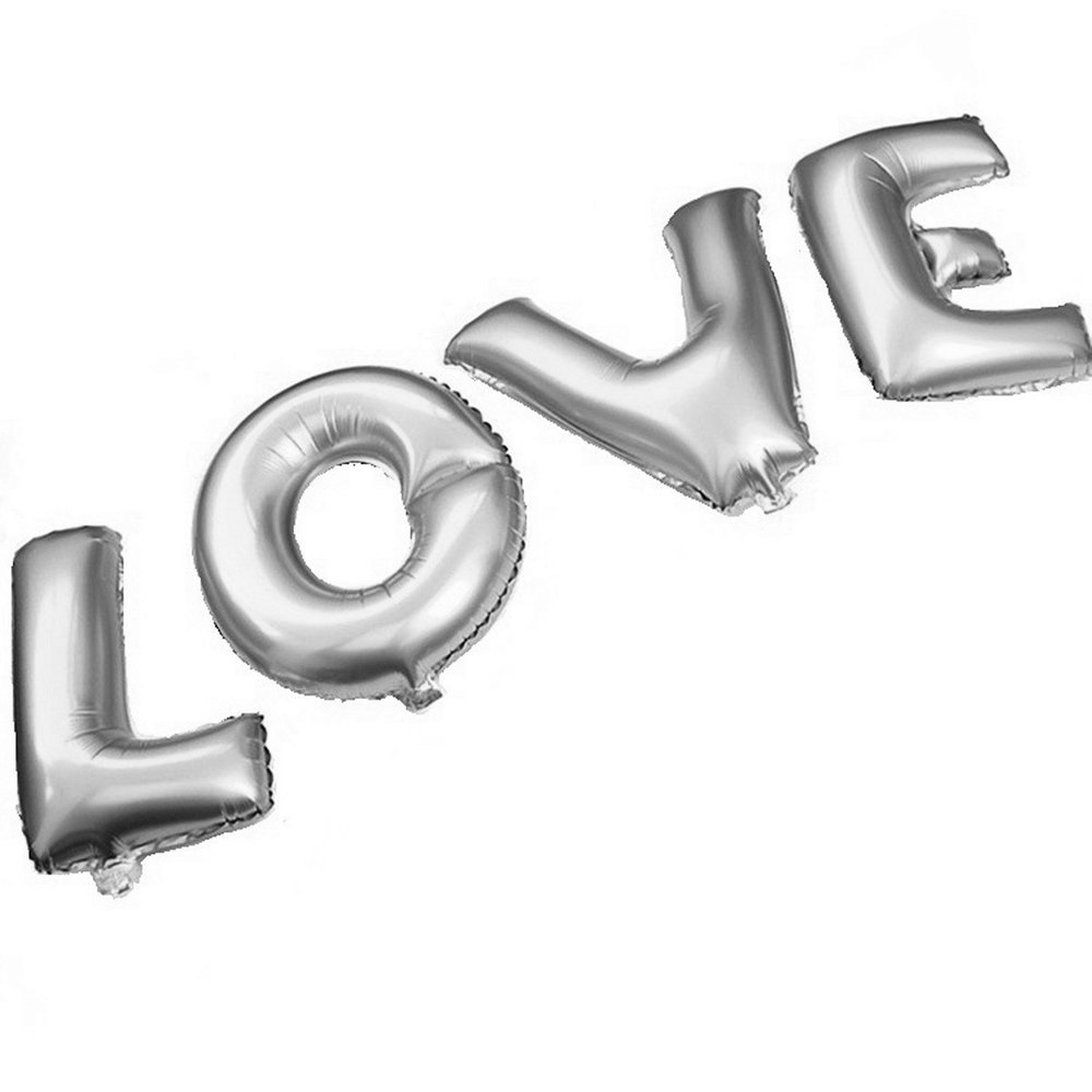 B-G 27 LOVE Balloon Set Bridal Shower Party Birthday Vow Renewal Wedding Decoration (Silver.jpg
