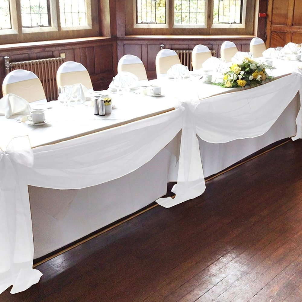 Bit Fly 1pc 500CM x 135CM Sheer Scarf Organza table swags Wedding for event party decoration Decoration (white).jpg