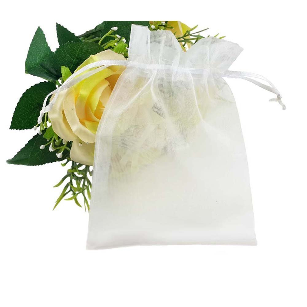 SumDirect 100Pcs 4x6 Sheer Drawstring Organza Jewelry Pouches Wedding Party Christmas Favor Gift Bags (White).jpg