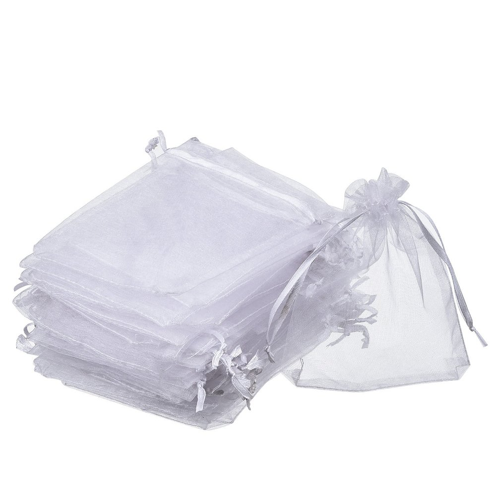 Mudder Organza Gift Bags White Wedding Party Favor Bags Jewelry Pouches Wrap (50 Pack, 4 x 4.72 Inches).jpg