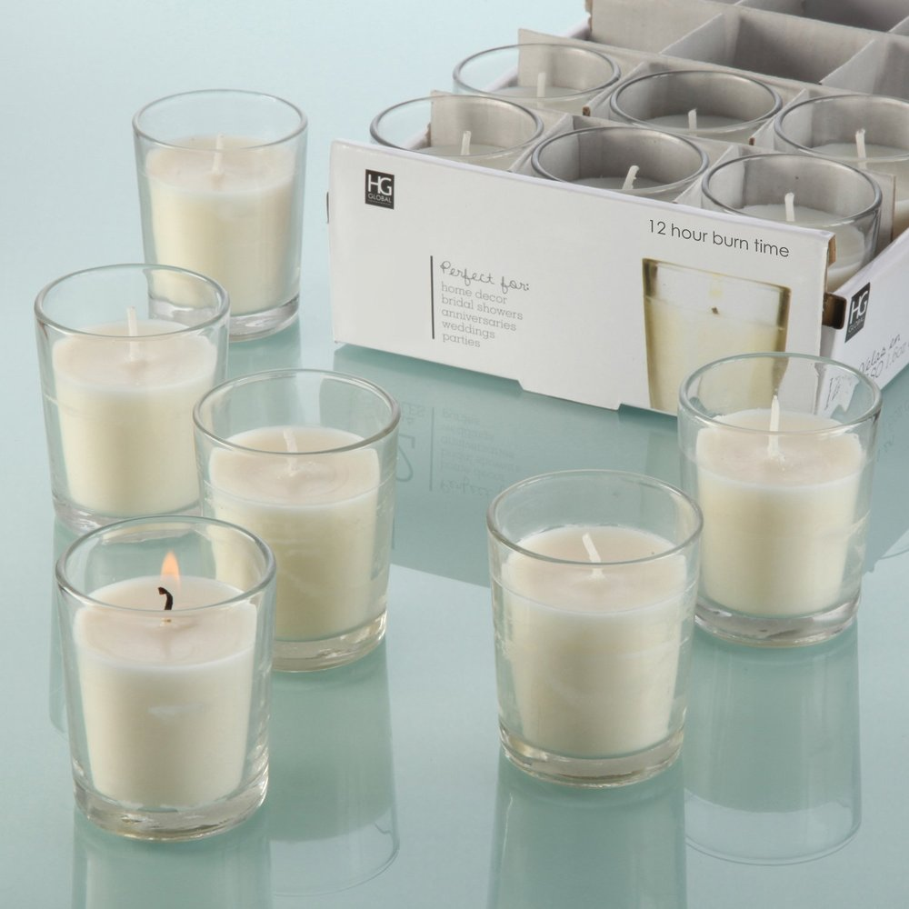 HOSLEY'S Set of 48 Unscented Glass Filled Votive Candles - 12 Hour Burn Time.jpg