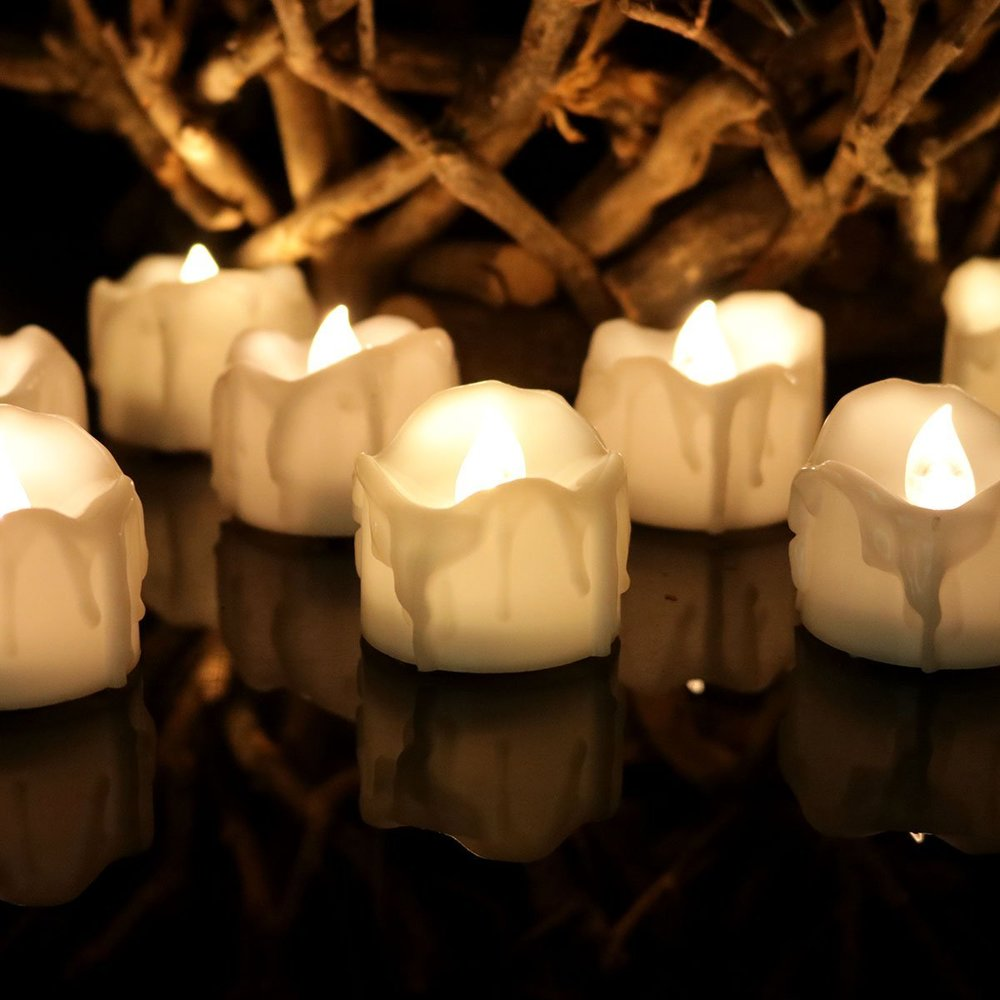Youngerbaby 24pcs Warm White Flickering Timing Function Flameless LED Tea Lights Candles with Timer(6 hrs on 18 hrs Off),Wax Dripped Battery Operated Electronic Candles for Wedding, Party , Christmas.jpg