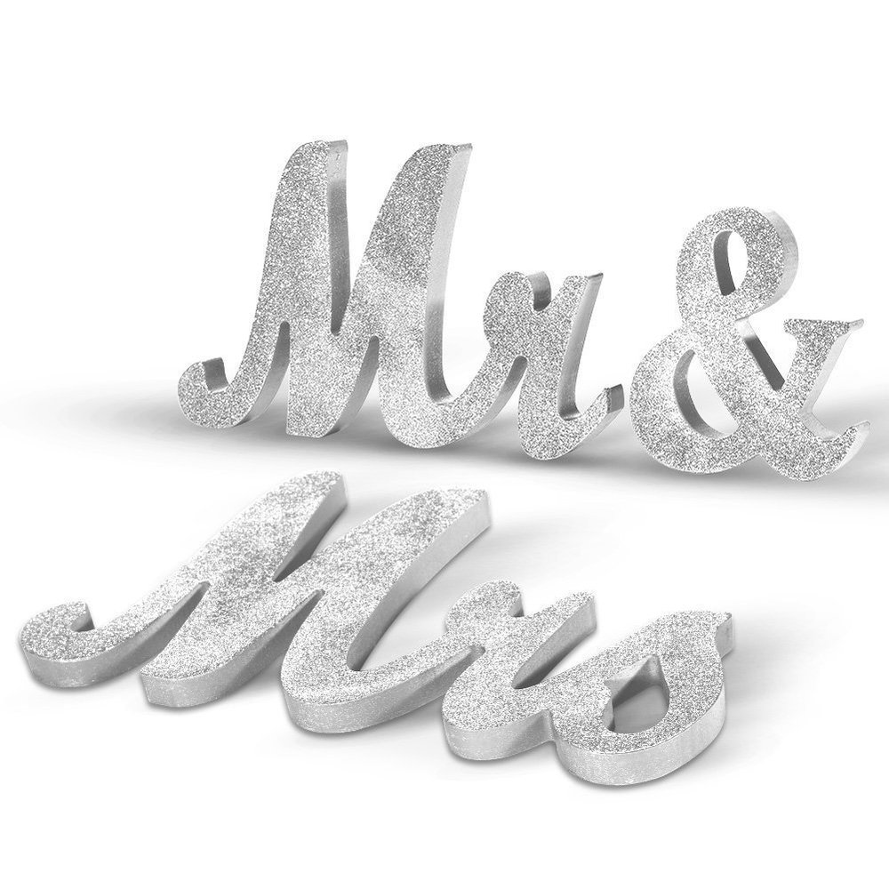 Haperlare Vintage Style Mr and Mrs Sign Mr & Mrs Wooden Letters Wedding Sign with Silver Glitter for Wedding Table,Photo Props,Party Table,Top Dinner Decoration.jpg
