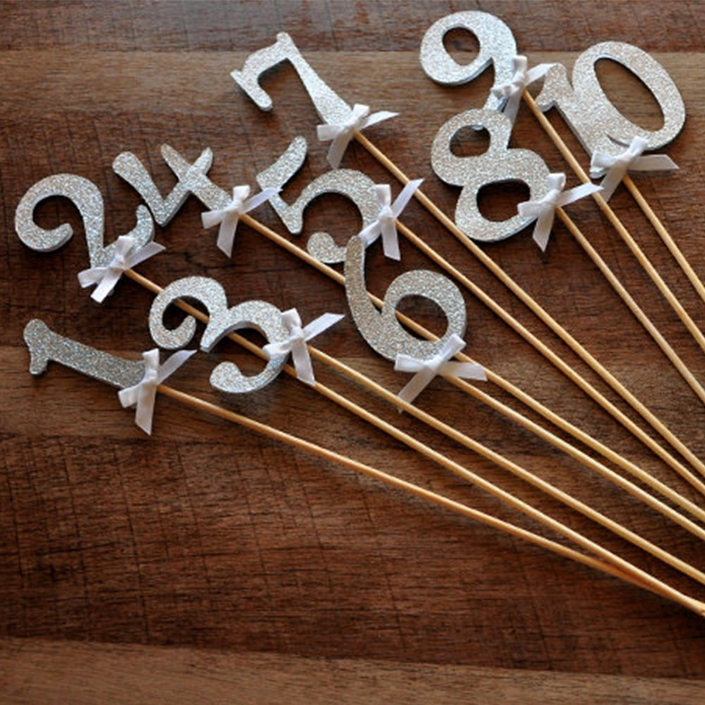 Table Numbers on Sticks. Numbers 1-10. Silver Wedding Decor. Glitter Silver Number Centerpiece..jpg