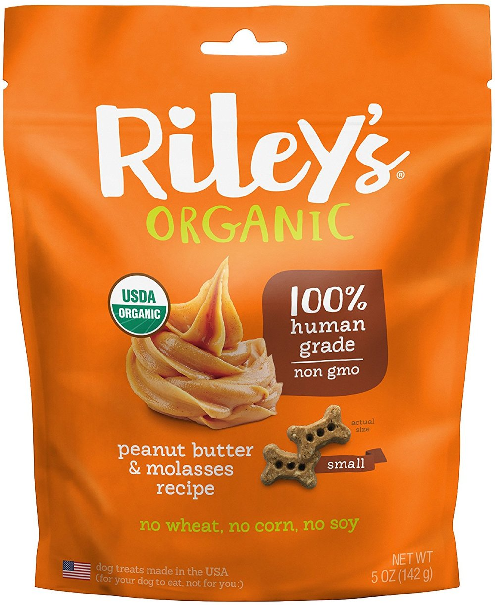Riley's Organics - Peanut Butter & Molasses - 5 oz Small Biscuits - Human Grade Organic Dog Treats - Resealable Bag.jpg