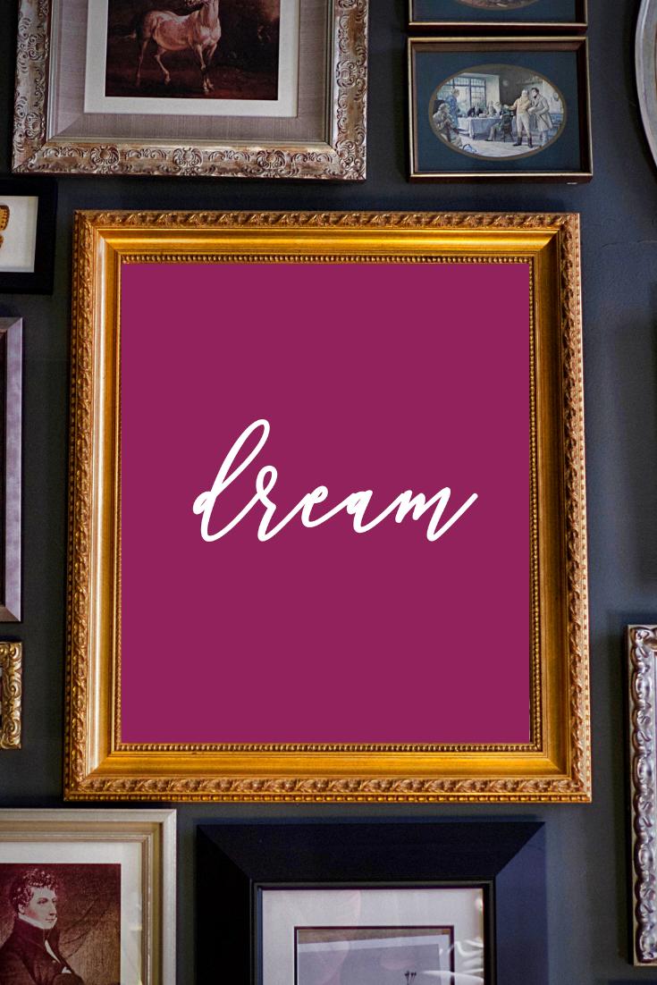 Dream O 8x10 Printable Digital Download Home Decor Wall Art Fuschia Pink