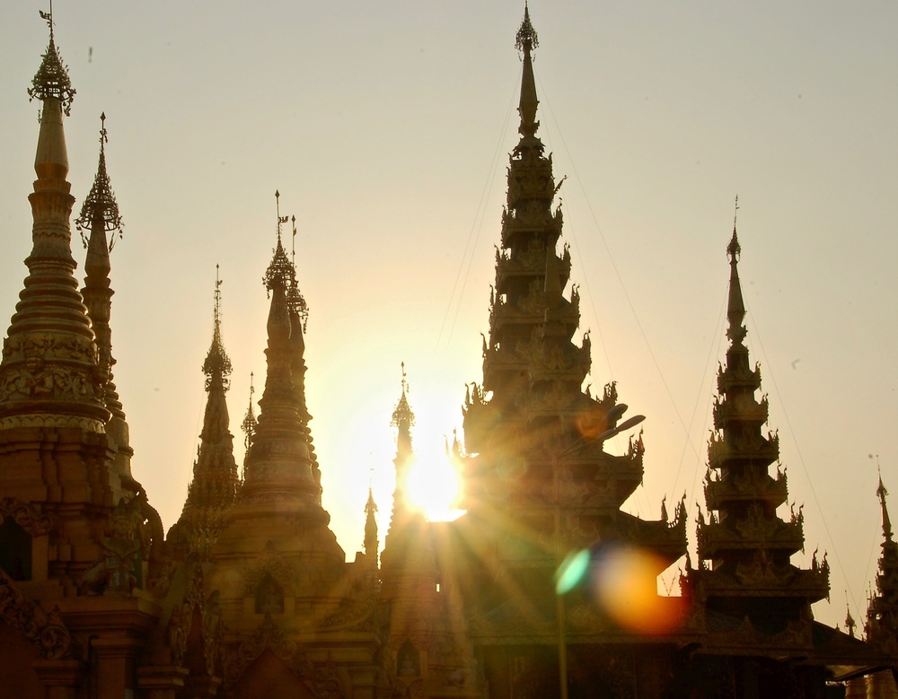 Sunset at the Shwedagon Pagoda in Yangon, Myanmar.