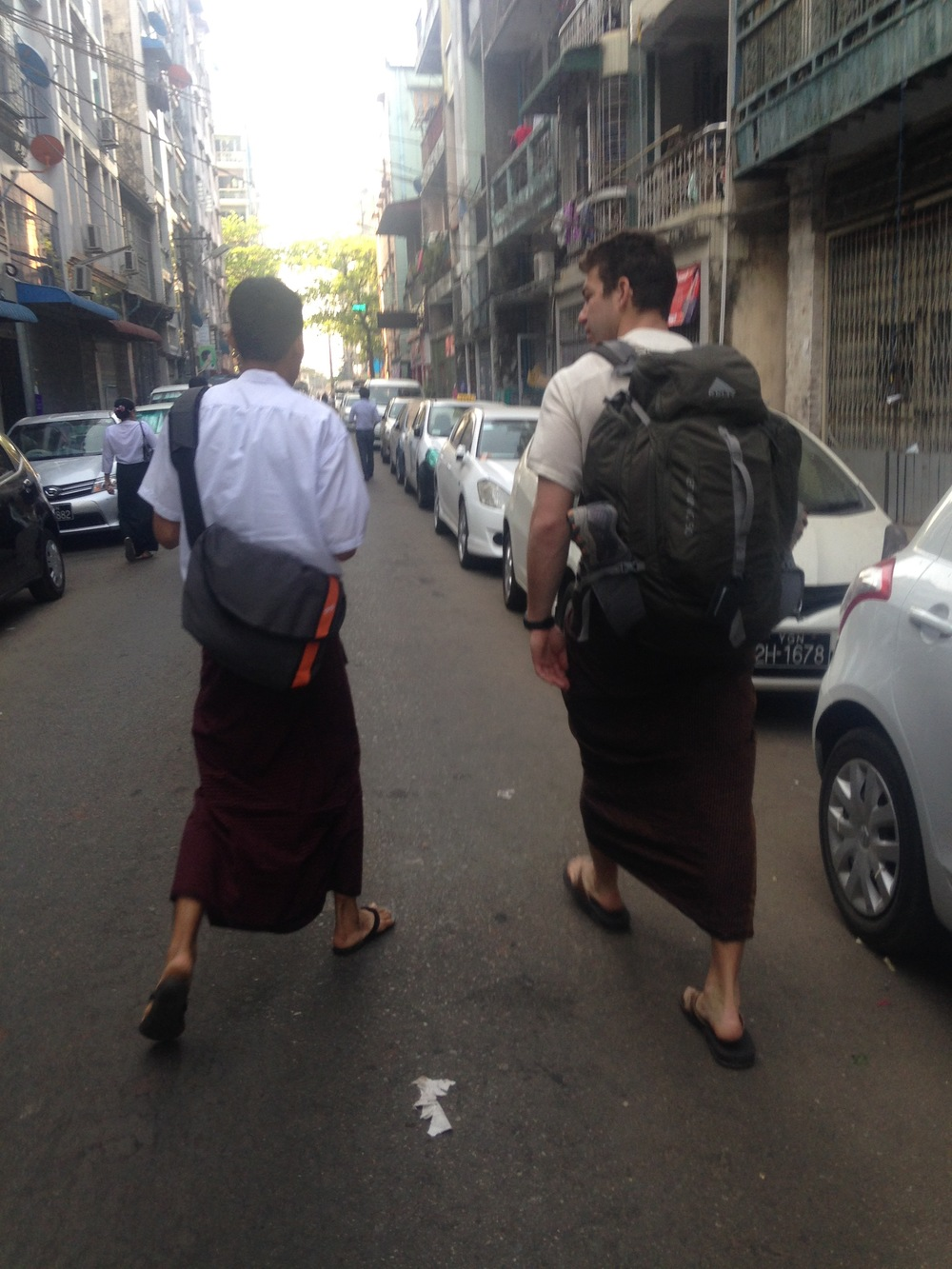 John and I walking the streets of Yangon