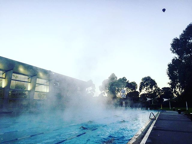 27 degree water + fresh air + clear winter morning + hot air balloons + great squad & coach + coffee after training = great start to the day!