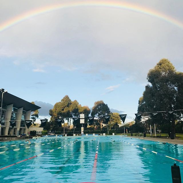 Looks like the pot of gold is in #glenwaverley tonight! Paradise for backstrokers! #swimming #monash #swimmingaround #rainbow #youdontgetthisswimmingindoors #water #M1 #activemonash #tateswim