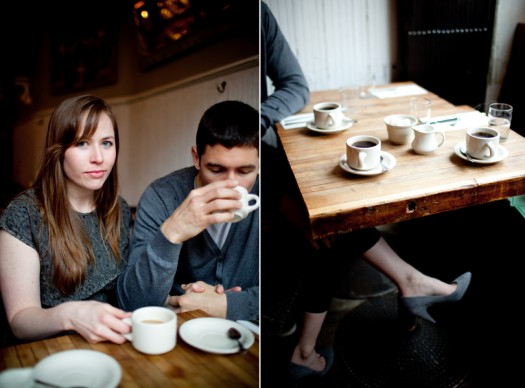 engagement session in a coffee shop Nw York