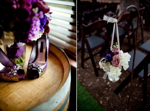 purple shiny wedding shoes