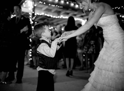 ring bearer and bride dance