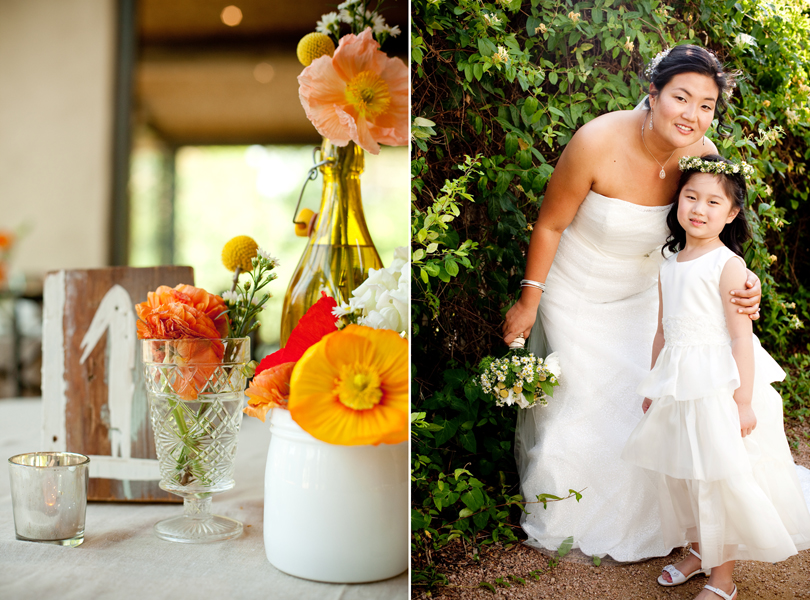 poppies, bride with flower girl, austin weddings
