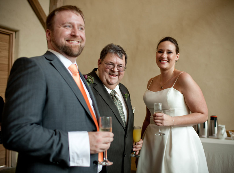 bride and groom with father of the bride, barr mansion