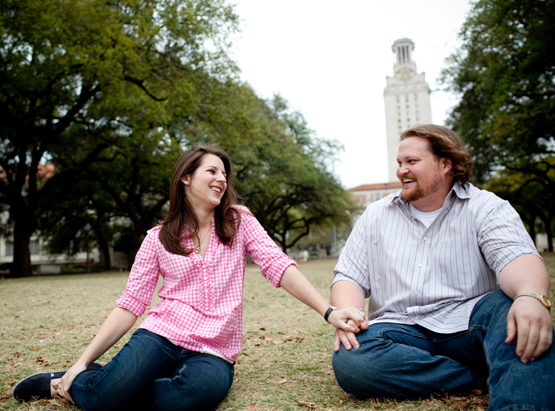 UT Tower engagement photography