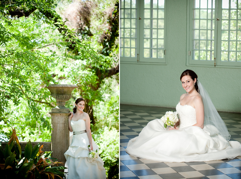 garden setting for bridal portrait
