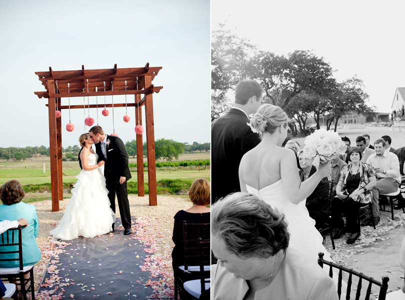 first kiss, recessional, central texas weddings, no wedding party