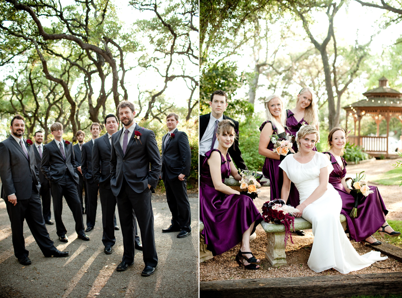 creative group shots of bridal wedding party austin