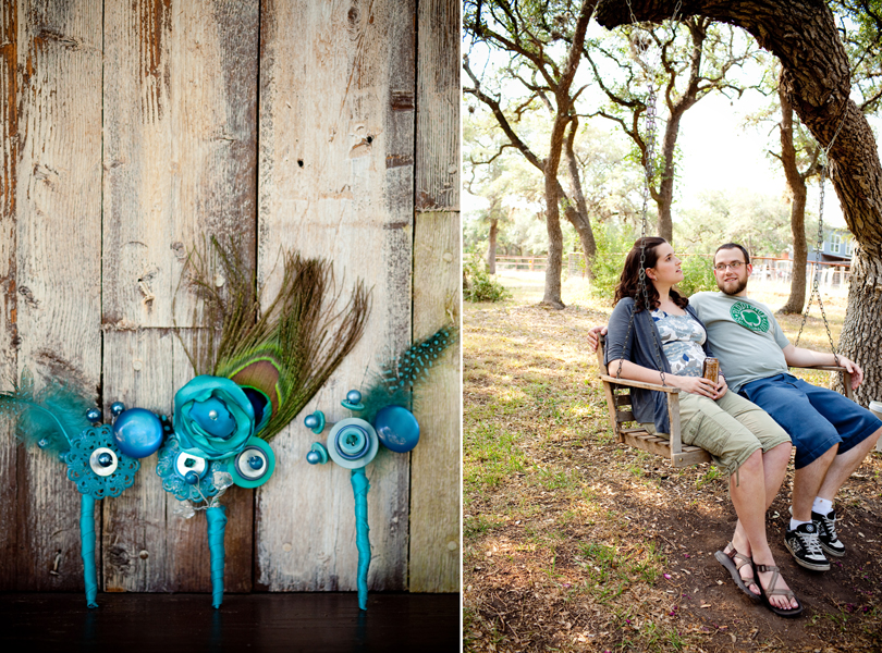 hand made boutonnieres, blue, button DIY, Austin Weddings