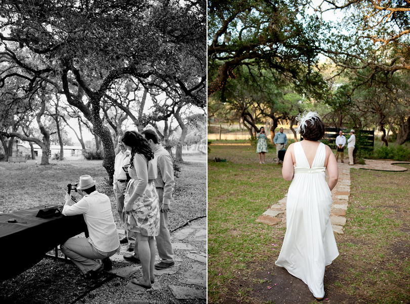 bride walking down the aisle, skype elopement, wedding dress