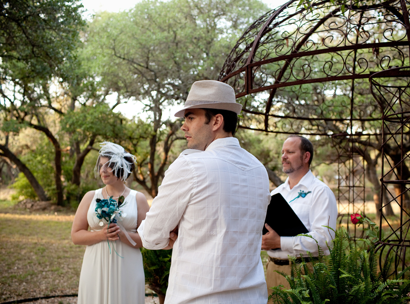 DIY wedding, bride and groom, officiant, inn at wild rose hall