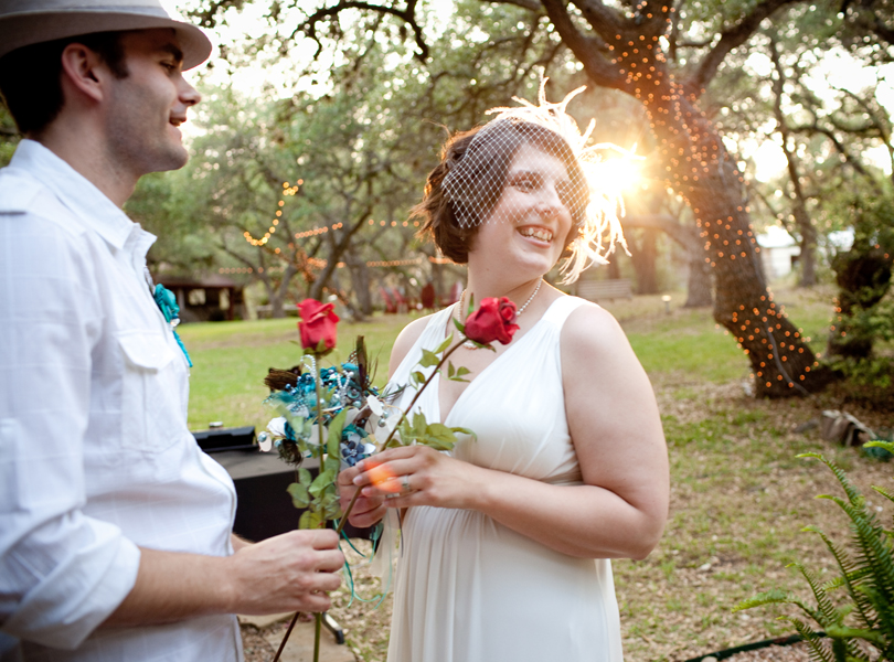 sunset wedding ceremony, inn at wild rose hall, austin weddings