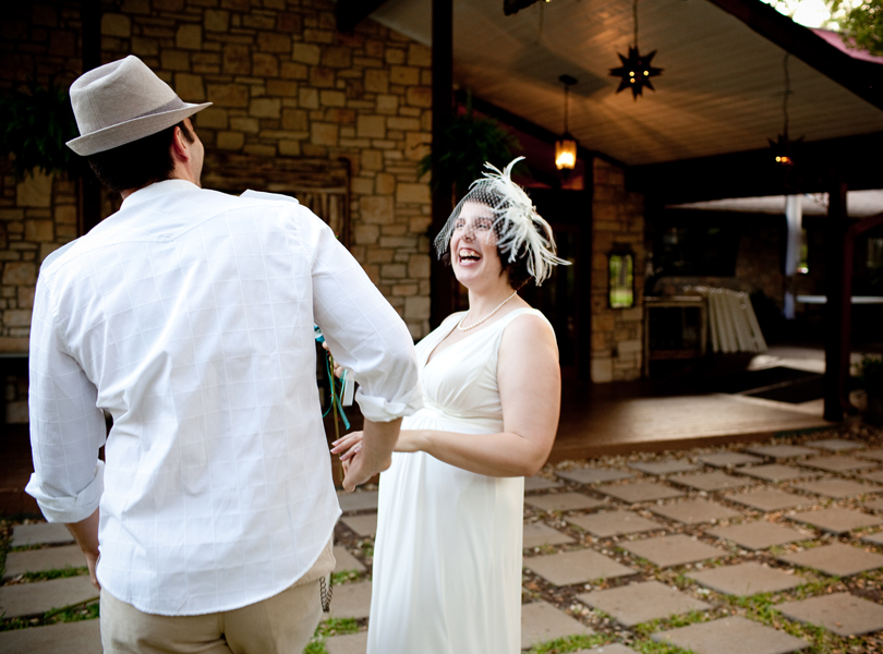 bride smiling laughing, inn at wild rose hall, austin weddings