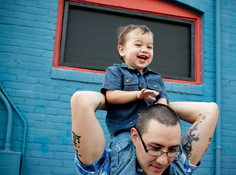 laughing baby, dad, toddler, blue, South Congress Family Portrait