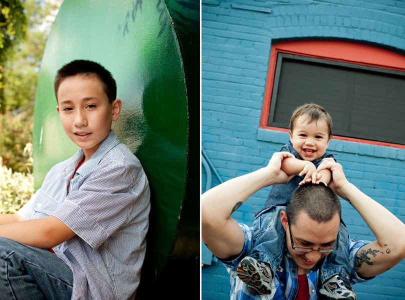 green blue red, baby on dads shoulders, Austin Family Photographer