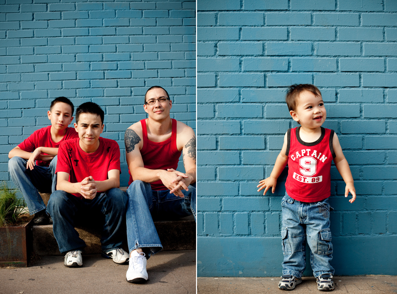 Laughing family, fathers day portrait, red blue, toddler, South Congress Family Session