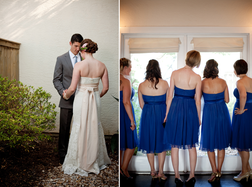first look, bridesmaids, Vintage Villas wedding, Verbena Floral Design