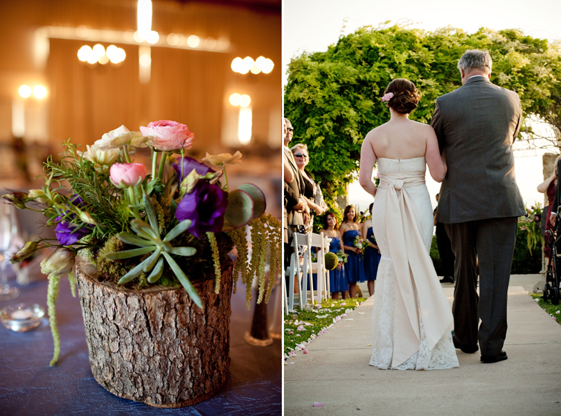 Vintage Villas wedding, Verbena Floral Design, bride and father of the bride walk down the aisle