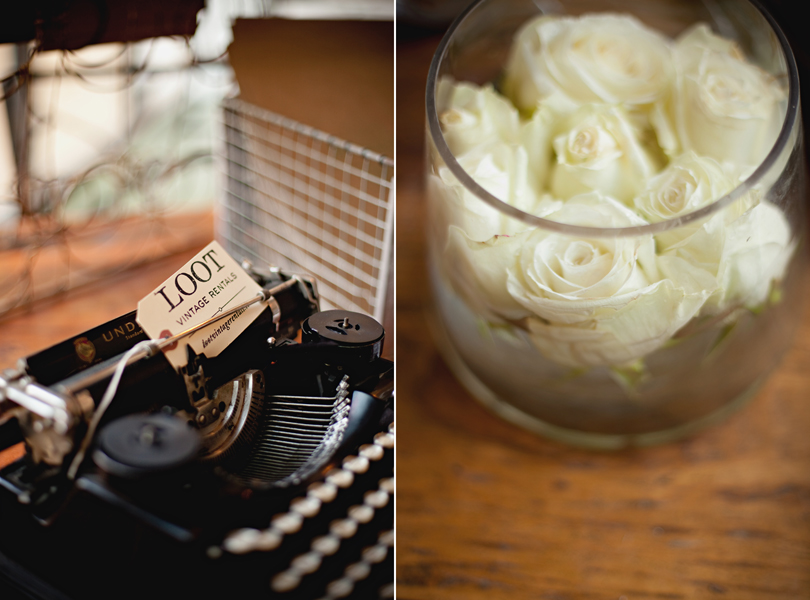 Barr Mansion Weddings, Stems Floral Design, Loot Vintage Rentals, floating roses, antique typewriter