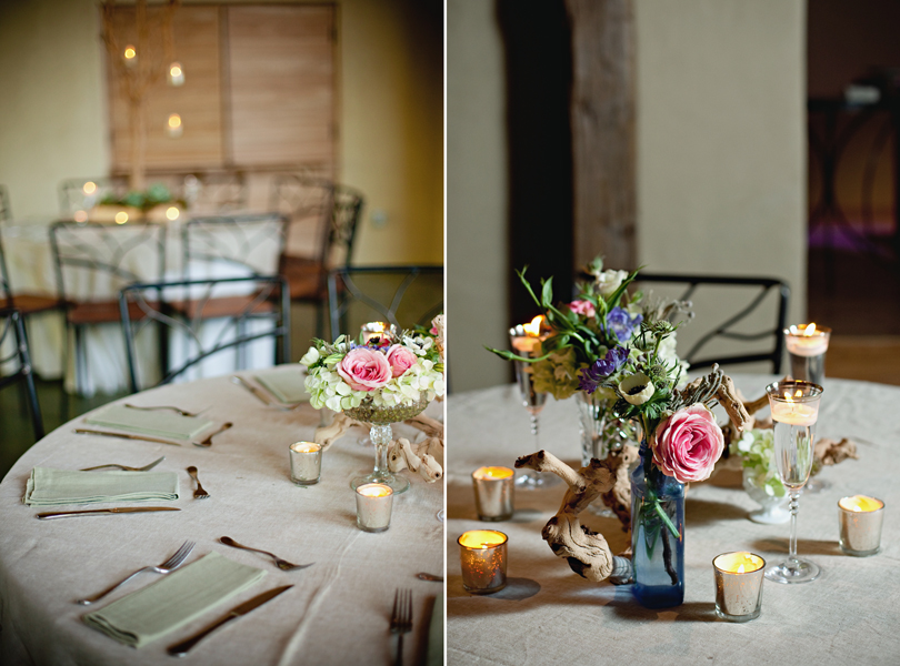 Barr Mansion Weddings, Stems Floral Design, Loot Vintage Rentals, blue glass centerpiece, desert fork, table setting, austin wedding photographer