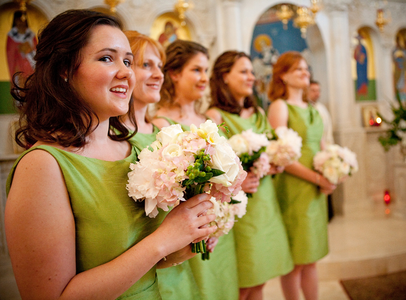 bridesmaids, precessional, green dresses, Westbank flower market