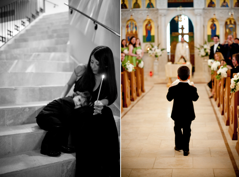 ring bearers, Transfiguration Greek Orthodox Church, walking down the aisle wedding