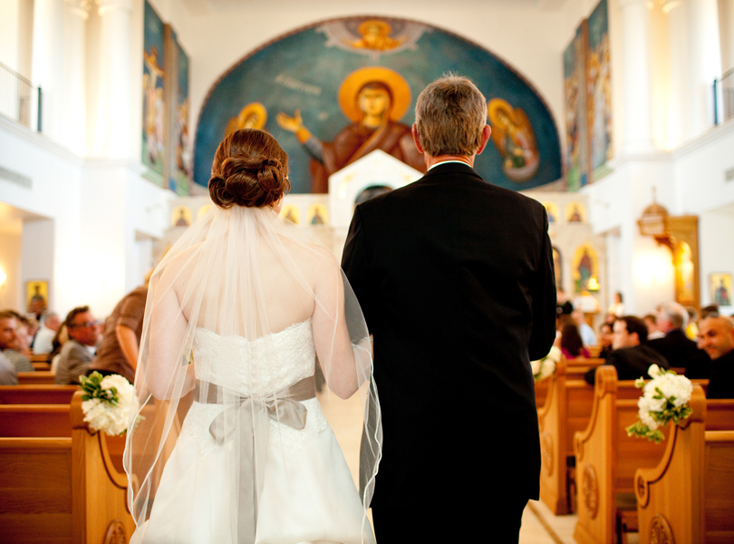 bride with father walking down the aisle, Transfiguration Greek Orthodox Church