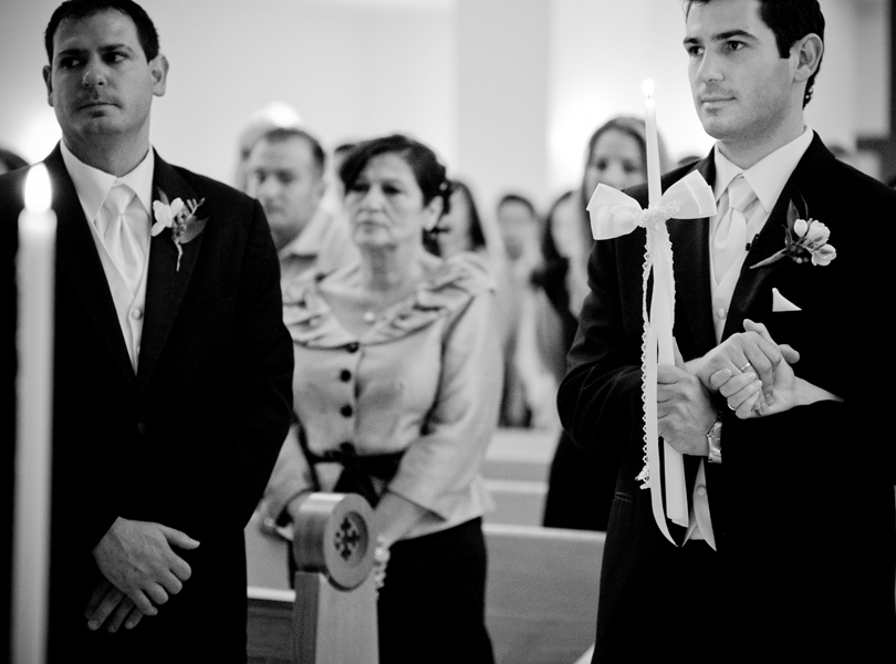 groom and family at the wedding service, Transfiguration Greek Orthodox Church wedding