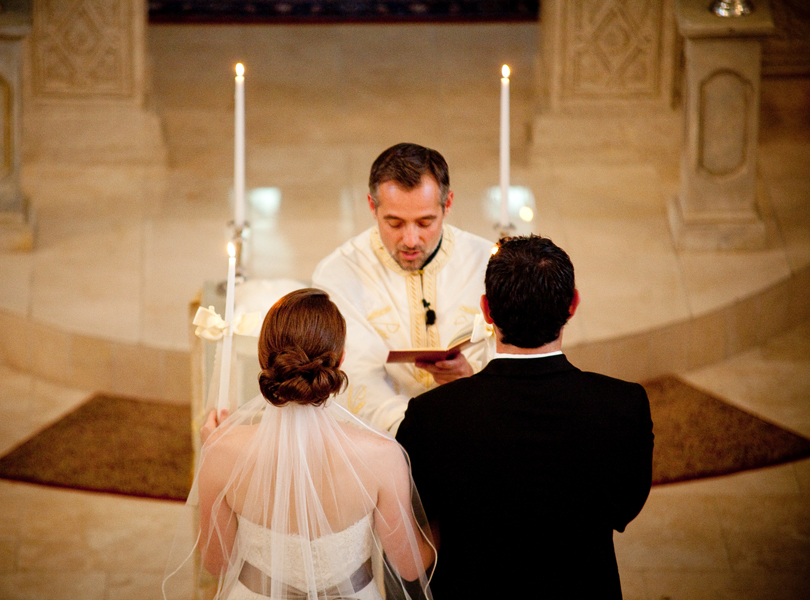 bride and groom, wedding ceremony, Transfiguration Greek Orthodox Church